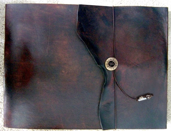 Leather Sketchbook, Refillable Sketchbook, Large, sketchbook cover  - Warm Brown Natural Edge, Drawing Book, Art Journal, Guest Book