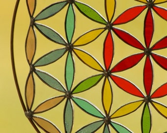 Hanging stained glass  Suncatcher Flower of life mandala Yoga sacred geometry