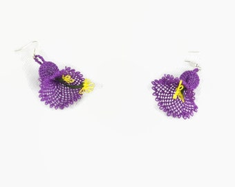 Purple  Flower Crochet Earrings, Dangle Bell Earrings, Delicate Lace Earrings, Turkish Oya Jewelry, Crochet Jewelry, Fun Earrings, for her