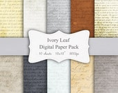"Digital Paper Pack - Vintage Style Literary Pages - 12x12"" Scrapbook Paper"