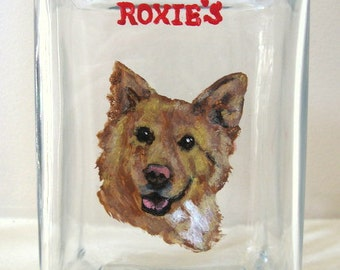 Custom Pet Portrait, Dog Treat Jar, Pet Painting, Hand Painted Dog, Personalized Pet, Dog Biscuit Container, Animal Art, Dog Lover