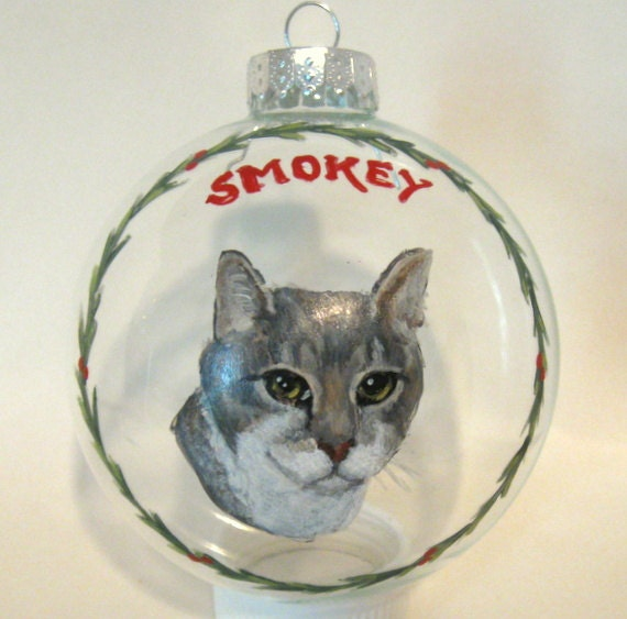 Cat Art Personalized Cat Christmas Ornament Pet Loss