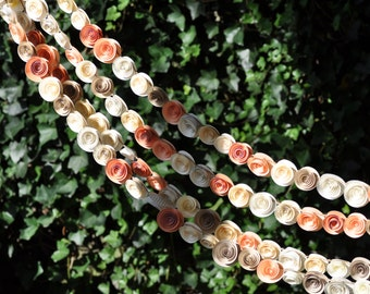 Wedding Garland Paper Flowers Peach, Ivory  Book Pages 24 feet