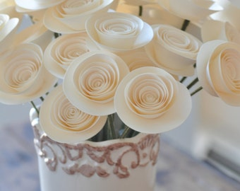 30 Ivory Paper Flowers on Stems- Bouquet of Paper Flowers-  Home Decor