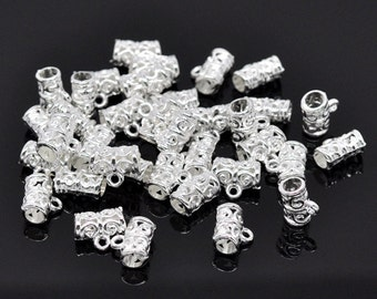 10 pieces Silver Plated Pattern  European Bail Beads
