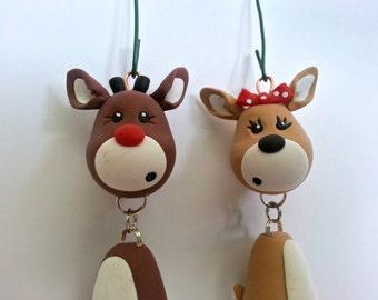 Reindeer Ornament Set- Handmade Polymer Clay Ornaments