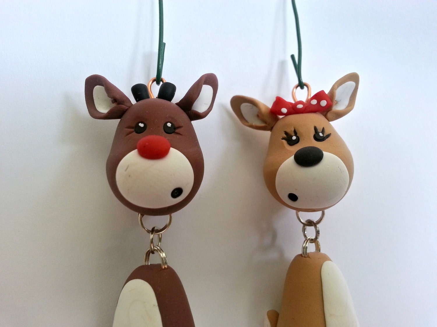 Handmade christmas ornaments on etsy - Reindeer Ornament Set Handmade Polymer Clay Ornaments Christmas Keepsakes Christmas Reindeer Figurines