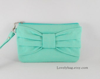 SUPER SALE - Personalized Clutch, Monogram Zipper Pull, Bridesmaid Gift - Mint Bow Clutch - Made To Order