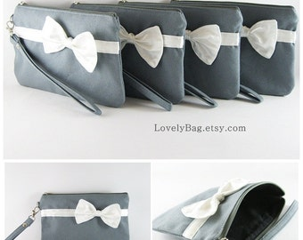SUPER SALE - Set of 5 Bridesmaids Clutches, Wedding Clutches / Gray with Little Ivory Bow Clutches - Made To Order