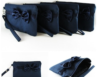 Set of 6 Clutch Bridesmaids, Clutch Wedding / Navy with Little Navy Bow Clutches - MADE TO ORDER