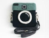Crochet Lomo Camera Purse/ Black Color
