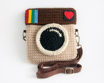 Crochet Instagram Purse - Love IG (Light Brown Color)