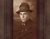 mysterious Man photo folding frame . Antique c. 1930. 9 x 18. handsome Dandy