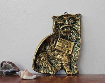 Vintage Brass Cat Ash Tray/ Wall Hanging With Quote