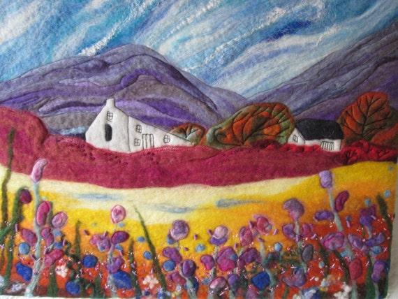 textile art, felt picture, original landscape art, 20 x 16