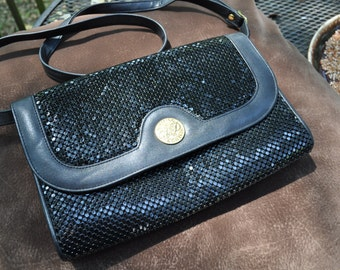 Whiting and Davis Black mesh clutch and shoulder bag