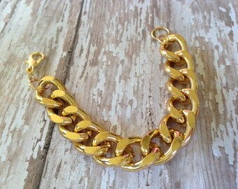 Chunky Gold Statement Curb Bracelet, Gold Chunky Statement Bracelet, Gold Chunky Chain Bracelet, Boho Chunky Chain Gold Curb Bracelet