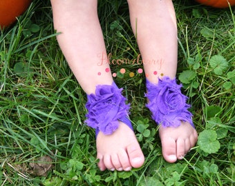Barefoot Sandals with Shabby Flower - Purple Color - Baby Barefoot Sandals -  Halloween Baby Sandals - Photoprop/Halloween - Newborn to 2T