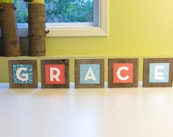 Baby Wall Letters For Nursery in Coral and Aqua - Custom Name Art - Personalized Baby Name Signs - Child Name Sign - Nursery Wall Letters