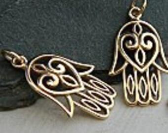 Bronze Hamsa Hand With Heart, Bronze Hamsa, Hamsa Charm, Bronze Yoga Charm, Namaste Charm, Bronze Hamsa Hand, Hamsa Charm