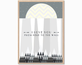 GAME OF THRONES | I Love You From Here To The Wall Poster : Modern Illustration Retro Art Wall Decor Print