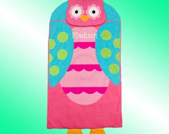 Nap Mat - Personalized and Embroidered - PINK OWL