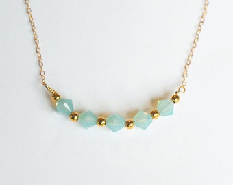 Delicate gold and seafoam green necklace - SALE