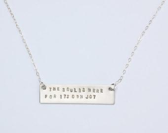 Rumi quote silver bar necklace