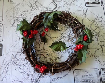 Vintage Holly Berry Wreath