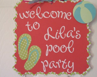 Pool Party Sign - Welcome to Pool Party Sign- Summer Pool Party Banner - Pool Birthday Party sign