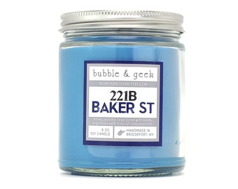 221B Baker Street Scented Soy Candle - 8 oz. jar - Sherlock Holmes