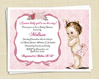 10 Baby Shower Invitations - Baby Girl - Shabby Chic - Vintage - Damask - Flowers - PRINTED