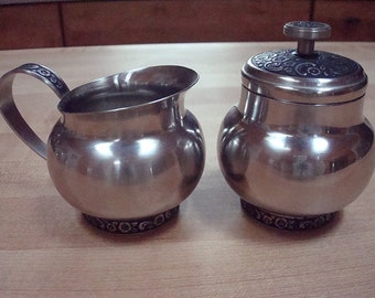 Stainless Cream And Sugar Set Made By Oneida