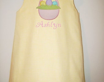 Monogrammed Easter Aline - in lots of colors and fabrics with shoulder bows