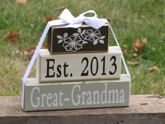 pregnancy announcement gift for new Great-Grandma. Wood Stacking Gift ...