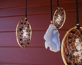 Mother Goddess Gold Bohemian Tribal Dream Catcher Mobile With Clear Quartz Crystal and Black Agate by The Emerald Lotus