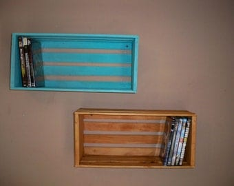 A Pair Crate Shelving,Wood Crate Shelving,Crate shelf, Wall Decor Shelf's,Wall Shelf For Pictures,DVD Storage Crate, Wood Crate Centerpiece,