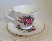 English Teacup and Saucer Royal Court Bone China Made in England, Bone China Teacup & Saucer Shabby Chic