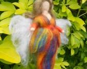 Needle felted Fairy, Waldorf Inspired, Autumn Rainbow