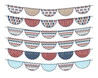 Instant Download - Bunting Banners 024 - Blue, Beige and Burgundy Clipart