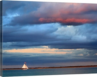Large Wall Art Sailboat Photography Canvas Gallery Wrap Sailing Boat Photo Nantucket Nautical Art Oversized Print Navy Blue Purple Teal