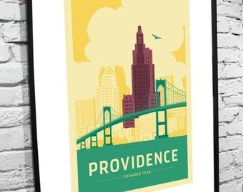 "Providence, Rhode Island Skyline 8""x10"" Poster"