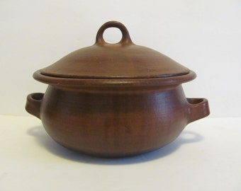 Hand Built Redware Tureen Pottery Native Burnished Clay