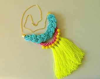 Bright Neon Tassel necklace Long Boho necklace Fringe Necklace Big necklace Statement Necklace bib Rope necklace knot Necklace Eco friendly
