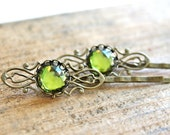Victorian inspired bobby pins - chartreuse green