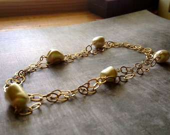 Chunky Pearl and 14kt Gold Filled Necklace