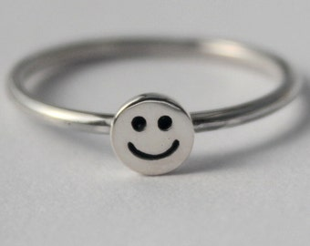 Sterling Silver Tiny Smiley face, 925 petite stacking Ring, Fun friendship ring, Novelty, kids ring.