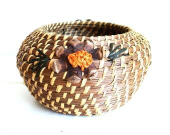 Vintage Basket Round Pine Needle Basket