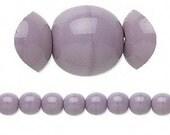 6mm Purple Czech Glass Druk Beads, Opaque Purple- 16 inch strand