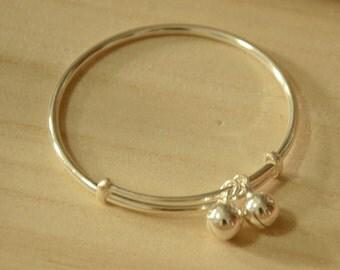 Silver S990 Adjustable BABY Bangle Bracelet  with 2 Jingle Bells